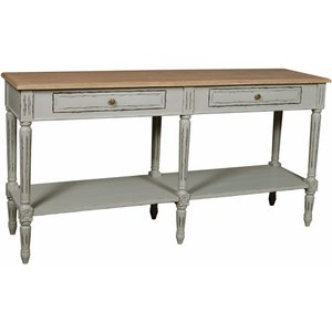 French International Charlotte French Distressed Stone Grey 2 Drawer Console Table, Distressed Stone Grey Painted and Elm