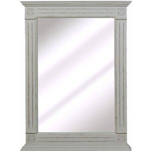 French International Charlotte French Distressed Stone Grey Rectangular Mirror - 65cm X 90cm, Distressed Stone Grey Painted