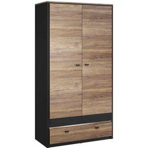 Arte Nova Chatham Oak And Black 2 Door Wardrobe, Oak Wersal, Black Matt with Golden Decor