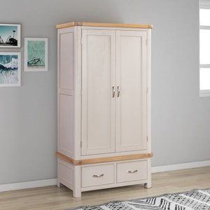 The Oak House Clarion Oak And Grey Painted 2 Door Wardrobe, Grey Painted