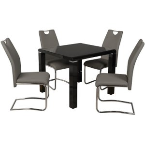 Annaghmore Clarus Black Square Dining Table And 4 Claren Grey Chairs, Black