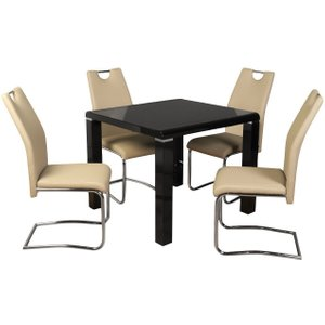 Annaghmore Clarus Black Square Dining Table And 4 Claren Khaki Chairs, Black