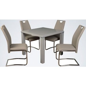 Annaghmore Clarus Grey Square Dining Table And 4 Claren Khaki Chairs, Grey