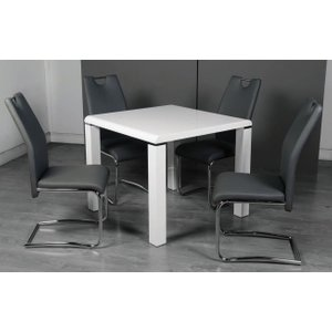 Annaghmore Clarus White Square Dining Table And 4 Claren Grey Chairs, White