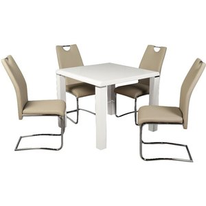 Annaghmore Clarus White Square Dining Table And 4 Claren Khaki Chairs, White