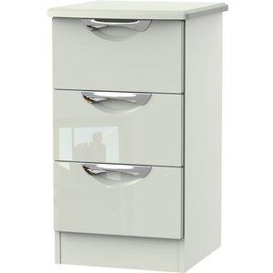 Clearance - Camden High Gloss Kaschmir 3 Drawer Bedside Cabinet - New - A-107, High Gloss Kaschmir