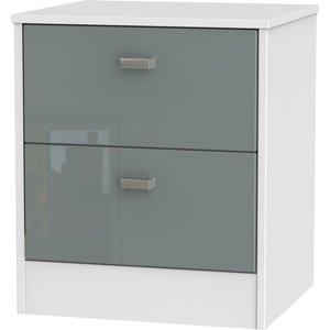Clearance - Dubai High Gloss Grey And White 2 Drawer Bedside Cabinet - New - A-149, High Gloss Grey and White