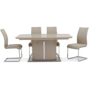 Clearance - Flavio Cream High Gloss Butterfly Extending Dining Table And 6 Paolo Cream Cha, Cream High Gloss