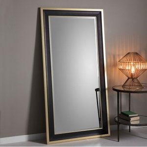 Clearance - Gallery Direct Edmonton Leaner Rectangular Mirror - 80cm X 156cm - New - D170, Black and Gold
