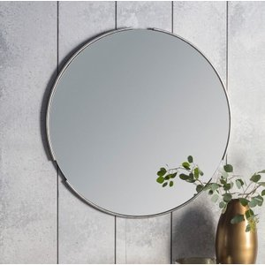 Clearance - Gallery Direct Fitzroy Round Mirror Silver 80cm X 80cm - New - D154, Silver