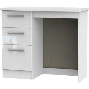 Clearance - Knightsbridge High Gloss White Single Pedestal Dressing Table - New - Fss9255, High Gloss White Front and Matt White Carcase