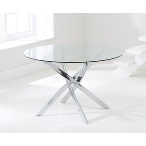 Clearance - Mark Harris Daytona Round Dining Table - Glass And Chrome - New - Fss8771