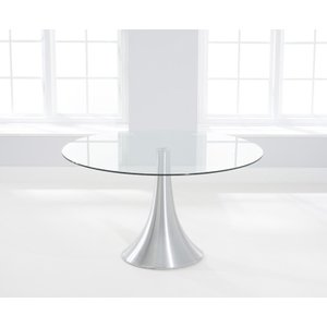 Clearance Half Price - Mark Harris Petra Round Dining Table - Glass And Chrome - New - Fs0