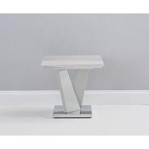 Clearance - Mark Harris Rosario Light Grey High Gloss Lamp Table - New - E-723