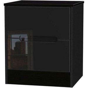 Welcome Furniture Clearance - Monaco High Gloss Black 2 Drawer Bedside Cabinet - New - A-119, High Gloss Black