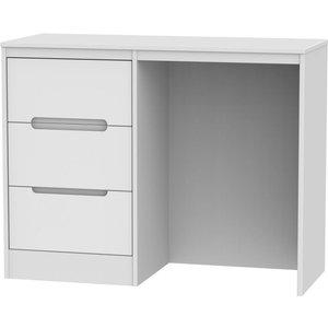 Welcome Furniture Clearance - Monaco Matt White Single Pedestal Dressing Table - New - A-101, White Matt