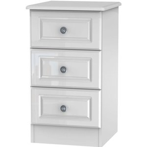 Clearance - Pembroke High Gloss White 3 Drawer Bedside Cabinet - New - A-106, High Gloss White