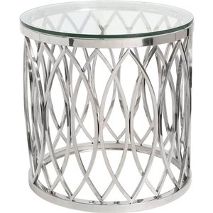 Deco Home Clearance - Wisner End Table - Glass And Chrome - New - E-30