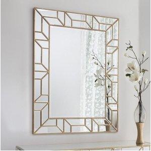 Clearance Half Price - Hudson Living Verbier Gold Rectangular Mirror - 89cm X 118cm - New , Gold