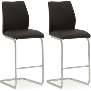 Clearance Half Price - Vida Living Elis Black Faux Leather Bar Chair (pair) - New - Fs250