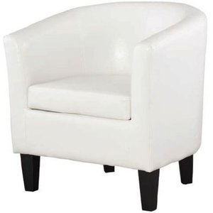 Annaghmore Colby White Faux Leather Tub Chair, White