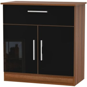 Welcome Furniture Contrast 2 Door 1 Drawer Narrow Sideboard - High Gloss Black And Noche Walnut