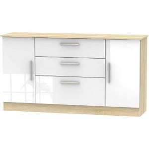 Welcome Furniture Contrast 2 Door 3 Drawer Wide Sideboard - High Gloss White And Bardolino