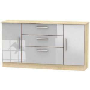 Welcome Furniture Contrast 2 Door 3 Drawer Wide Sideboard - High Gloss Grey And Bardolino