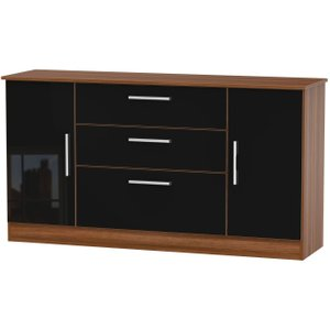 Welcome Furniture Contrast 2 Door 3 Drawer Wide Sideboard - High Gloss Black And Noche Walnut