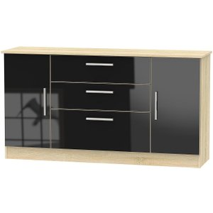 Welcome Furniture Contrast 2 Door 3 Drawer Wide Sideboard - High Gloss Black And Bardolino