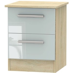 Welcome Furniture Contrast 2 Drawer Bedside Cabinet - High Gloss Grey And Bardolino, Grey High Gloss and Bardolino