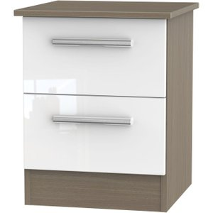 Welcome Furniture Contrast 2 Drawer Bedside Cabinet - High Gloss White And Toronto Walnut, High Gloss White and Toronto Walnut