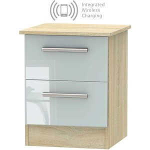 Welcome Furniture Contrast 2 Drawer Bedside Cabinet With Integrated Wireless Charging - High Gloss Grey And , Grey High Gloss and Bardolino