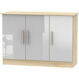 Welcome Furniture Contrast 3 Door Narrow Sideboard - High Gloss Grey And Bardolino