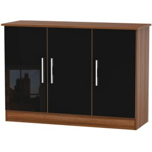 Welcome Furniture Contrast 3 Door Sideboard - High Gloss Black And Noche Walnut