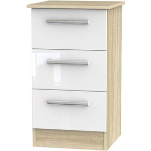 Welcome Furniture Contrast 3 Drawer Bedside Cabinet - High Gloss White And Bardolino, Gloss White and Bardolino