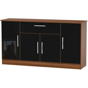 Welcome Furniture Contrast 4 Door 1 Drawer Wide Sideboard - High Gloss Black And Noche Walnut