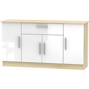 Welcome Furniture Contrast 4 Door 1 Drawer Wide Sideboard - High Gloss White And Bardolino, High Gloss White and Bardolino