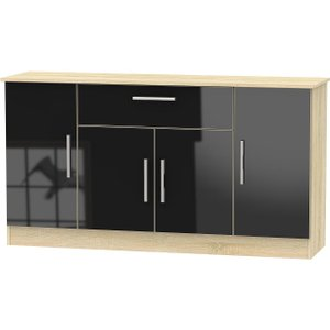 Welcome Furniture Contrast 4 Door 1 Drawer Wide Sideboard - High Gloss Black And Bardolino