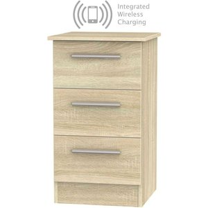 Welcome Furniture Contrast Bardolino 3 Drawer Bedside Cabinet With Integrated Wireless Charging, Bardolino