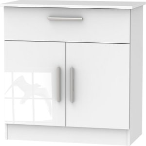 Welcome Furniture Contrast High Gloss White 2 Door 1 Drawer Narrow Sideboard