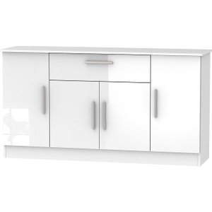 Welcome Furniture Contrast High Gloss White 4 Door 1 Drawer Wide Sideboard