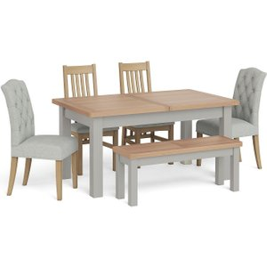Corndell Daylesford Small Extending Dining Table With 4 Chairs 1 Bench - Oak And Pebble Grey, Pebble Grey