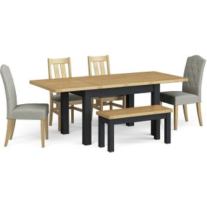 Corndell Daylesford Small Extending Dining Table With 4 Chairs 1 Bench - Oak And Charcoal, Charcoal