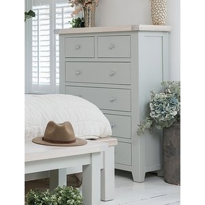 B & S Costwold Oak And Grey Painted 2+4 Drawer Chest, Misty Grey Painted