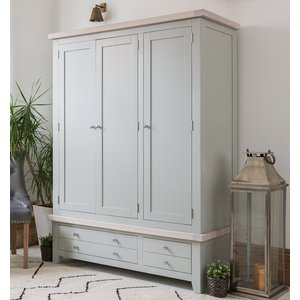 B & S Costwold Oak And Grey Painted 3 Door 4 Drawer Wardrobe, Misty Grey Painted