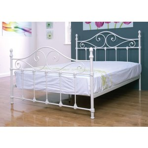 Annaghmore Cotswold Ivory Painted Metal Bed, Ivory Painted