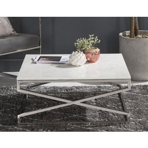 Urban Deco Crossroad White Marble Coffee Table - Sqaure Stainless Steel Chrome Base