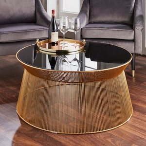 Native Home And Lifestyle Curve Black Glass And Metal Round Coffee Table, Black