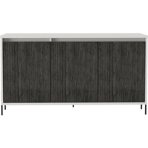Cfs Value Dallas Medium Sideboard - White And Grey Oak Effect, White and Carboon Grey Oak Effect